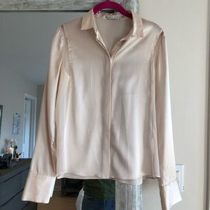 Silk Champagne colored button up top
